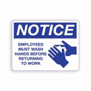 Palmer ADA Metal Wash Hands Sign, Blue on White (PFO-IS8001-15)
