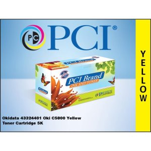 PCI Okidata 43324401 C5800 Yellow Toner Cartridge (43324401-PCI)