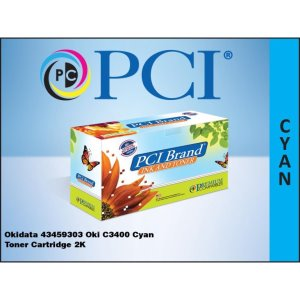 PCI Okidata 43459303 C3400 Cyan Toner Cartridge (43459303-PCI)