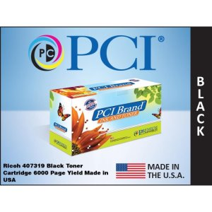 PCI Brand Ricoh 407319 Black Toner Cartridge 6K Yield (407319-PCI)