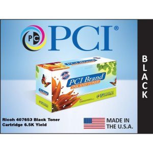PCI Brand Ricoh 407653 Black Toner Cartridge 6.5K High Yield (407653-PCI)