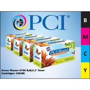 PCI Brand Xerox Phaser 6700 B,M,C,Y Toner Cartridge Bundle (6700CMYK-PCI)