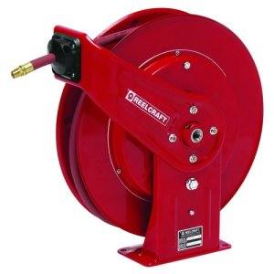 "Reelcraft Retractable Grease Hose Reel, 1/4"" ID, 50 FT, 5000 PSI (7450 OHP )"