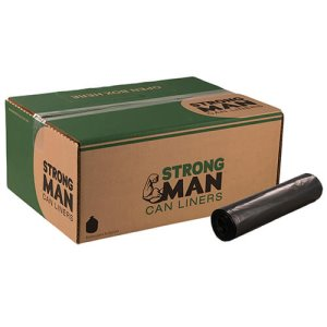 Strongman 60 Gallon Black Garbage Bags, 38 x 58, 2.3mil, 100 Bags (SM385823)