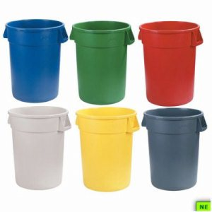 Carlisle Round Waste Container - 44 Gal., Blue, 3/cs, Blue, (SHR-CAR34104414)