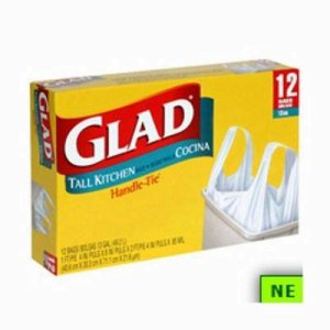 13 Gallon Glad Tall Kitchen  Handle Tie Garbage Bag (SHR-CLO61024)