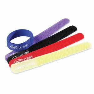 "Compucessory Cable Ties, 7""x3/4""x1/16"", 10/PK, Assorted (CCS13081)"