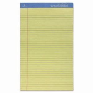 "Sparco Perforated Wide Pad, Ruled, 50 Shts, 8-1/2""x14"", Canary (SPR1014)"