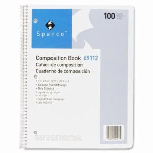 "Sparco Composition Book, 100 Sheets, College Ruled,11""x8-1/2"", WE (SPR69112)"