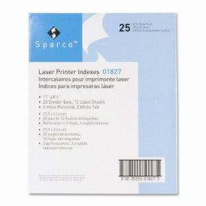 Sparco Laser Printer Indexes, Punched, 3-Tab, 25 ST/PK, White (SPR01827)