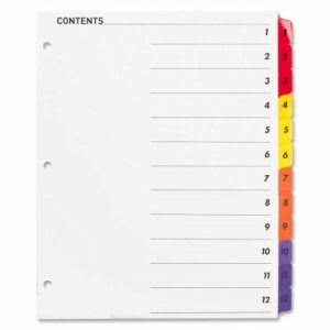 Sparco Index Dividers W/Table Of Contents, 1-12, 12 Tabs/STMulti (SPR21903)
