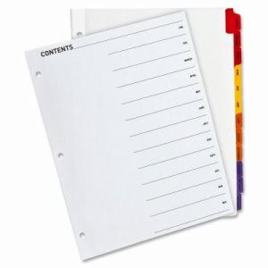 "Business Source Index Dividers,Punched,Jan-Dec,11""x8-1/2"",12/ST,Multi (BSN21906)"