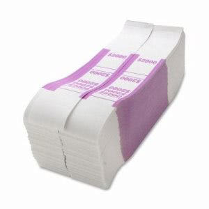 Sparco Bill Strap, $2000, 1000/Pack, White/Violet (SPRBS2000WK)