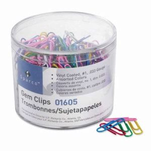 Sparco Paper Clips,.033 Guage,Vinyl Coated,S ize No. 2, 500/Box,AST (SPR01605)