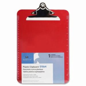 "Sparco Transparent Plastic Clipboard, 9""x12"", Red (SPR01864)"