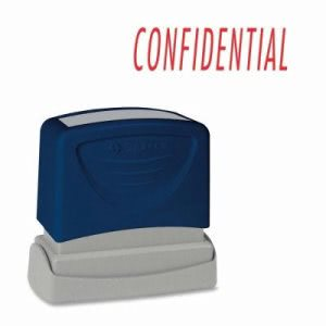 "Sparco CONFIDENTIAL Title Stamp, 1-3/4""x5/8"", Red Ink (SPR60021)"