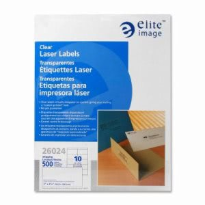 "Elite Image Laser Labels, Shipping, 2""x4-1/4"", 500/PK, Clear (ELI26024)"