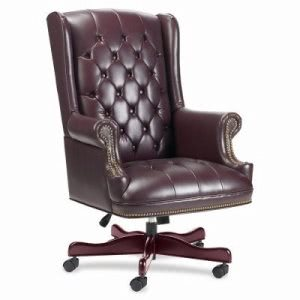 "Lorell Executive Vinyl Swivel Chair, 30""x32""x44""-46"", Burgundy (LLR60603)"