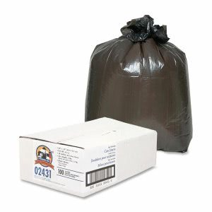 Genuine Joe 16 Gallon Black Garbage Bags, 24x31, 0.6mil, 100 Bags (GJO02431)