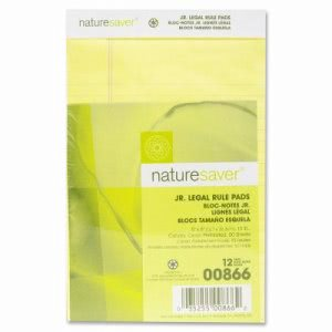 "Nature Saver Jr. Legal Pads, Ruled, Recycled, 5""x8"", 50 Shts, Canary (NAT00866)"