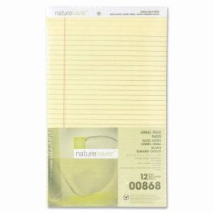 "Nature Saver Recycled Pad, Wide Ruled, 8-1/2""x14"", 50 Sheets, Canary (NAT00868)"