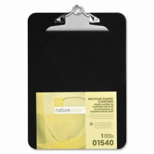 "Nature Saver Plastic Clipboard, Recycled, 1"" Cap, 9""x12"", Black (NAT01540)"