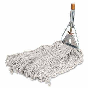 "Genuine Joe Wet Mop, 24-oz. 4-Ply Cotton, 15/16""x60"" Wood Handle (GJO54201)"