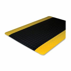 Genuine Joe Anti-Fatigue Mat,Beveled Edge,3'x5',Yellow Border,Black (GJO70364)