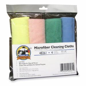 Genuine Joe Microfiber Cleaning Cloths, Lint-free, Assorted, 4 Cloths (GJO48261)