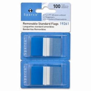"Sparco Pop-up Removable Standard Flags, 1"", 100/PK, Blue (SPR19261)"