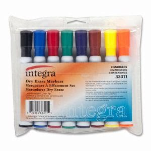 Integra Dry-Erase Marker, Large Barrel, Chisel Tip, 8 Color/ST, AST (ITA33311)