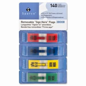 "Sparco Sign Here Pop-Up Flags Dispenser,1/2""x1-3/4"",140/PK,AST (SPR38008)"
