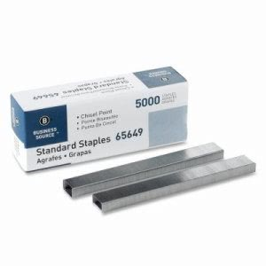 Business Source Standard Staples, Silver, 5000 Staples/Box (BSN65649)