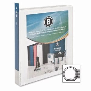 "Business Source View Binder, w/ 2 Inside Pockets, 1"" Capacity, White (BSN09953)"
