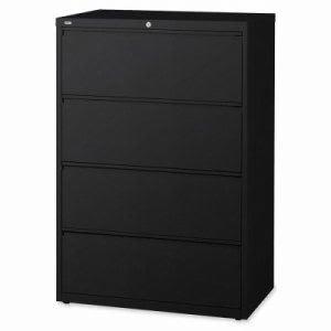 "Lorell Lateral File, 4-Drawer, 36""x18-5/8""x52-1/2"", Black (LLR60553)"