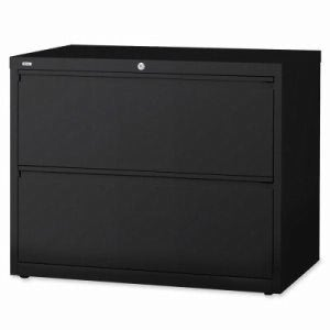 "Lorell Lateral File, 2-Drawer, 42""x18-5/8""x28-1/8"", Black (LLR60554)"