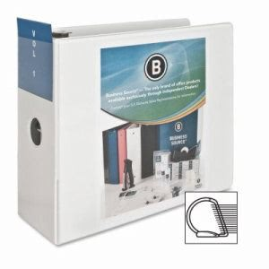 "Business Source D-Ring Binder, w/ Pockets, 5"" Capacity, White (BSN28445)"