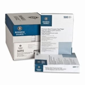 Business Source Multipurpose Paper,20lb.,92 Bright,3HP,  10 Reams (BSN36592)