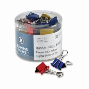Business Source Binder Clips, Small Capacity, 36/Pack, Assorted (BSN65361)
