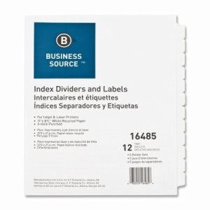Business Source Index Dividers, 3HP, 12-Tab, 5 Sets/BX, White (BSN16485)