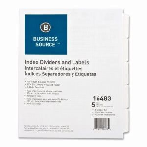 "Business Source Index Dividers, 3HP, 5-Tab, 11""x8-1/2"", White (BSN16483)"