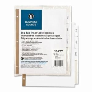Business Source Index Dividers, 5-Tab, White Stock/Clear Tabs (BSN16477)