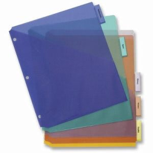 "Business Source Index Dividers, Double Pocket, 5-Tab, 8-1/2""x11"" (BSN32370)"