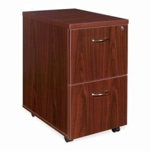 Lorell 2-Drawer Mobile Pedestal File Cabinet, 15.8w x 28.6h, Mahagony (LLR69397)