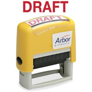 "SKILCRAFT Message Stamp,Pre-inked,""Draft"",1/2""x1-3/4"",Red Ink (NSN2074116)"