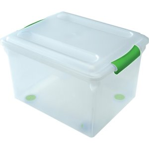 Iris Store and Slide Storage Boxes, 34 Quart, Clear/Green, 4 Boxes (IRS140010)