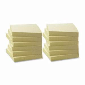 "Business Source Recycled Adhesive Note Pads, 3""x3"", 12/PK, Yellow (BSN36620)"