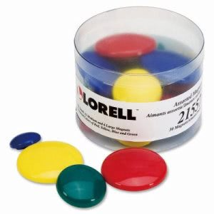Lorell Magnets, 12 Sm/12 Md/ 6 Lg, Clear Tub, Assorted, 30/PK (LLR21557)