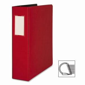 "Business Source D-Ring Binder w/Label Holder, Hvy-Dty, 2"", Red (BSN33112)"
