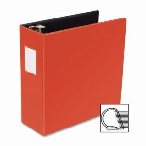 "Business Source D-Ring Binder w/Label Holder, Hvy-Dty, 4"", Red (BSN33120)"
